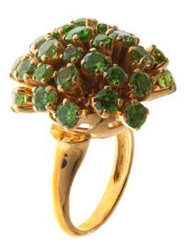Кольцо из золота 750* пробы с Демантоидами