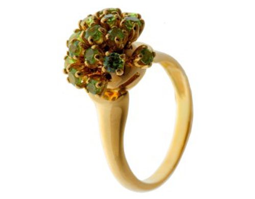 Кольцо из золота 585* пробы с демантоидами