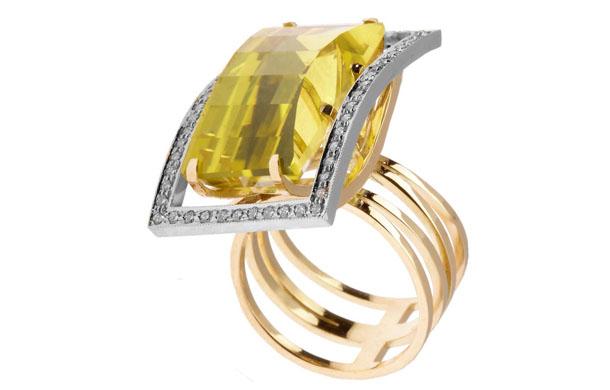 Кольцо Золота 585* пробы с бриллиантами и цитринами