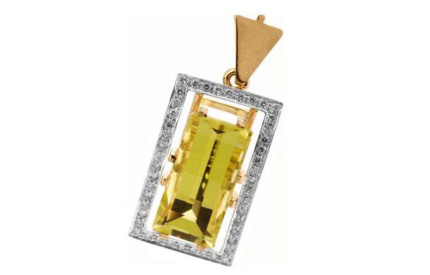 Подвеска из золота 585* пробы с бриллиантами и цитринами