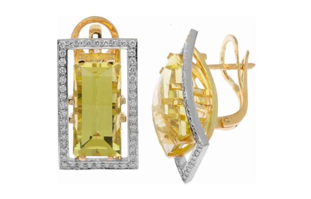 Серьги из золота 585* пробы с бриллиантами и цитринами