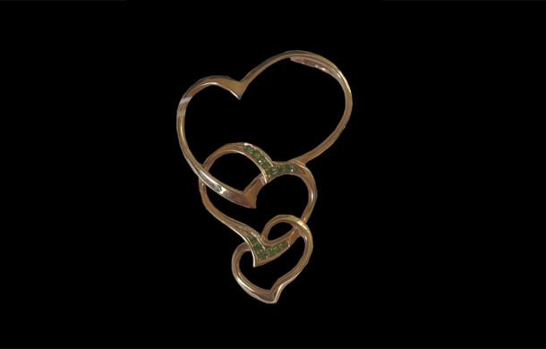Подвеска из золота 585* «Три сердца»