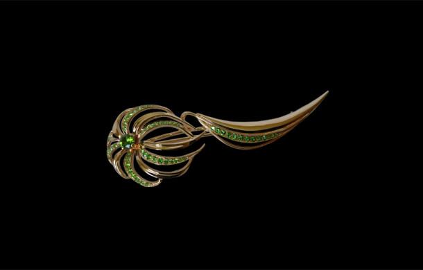 Брошь «Хризантема» из золота 585*